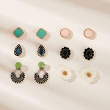 Flower & Triangle Detail Stud Earrings 6pairs
