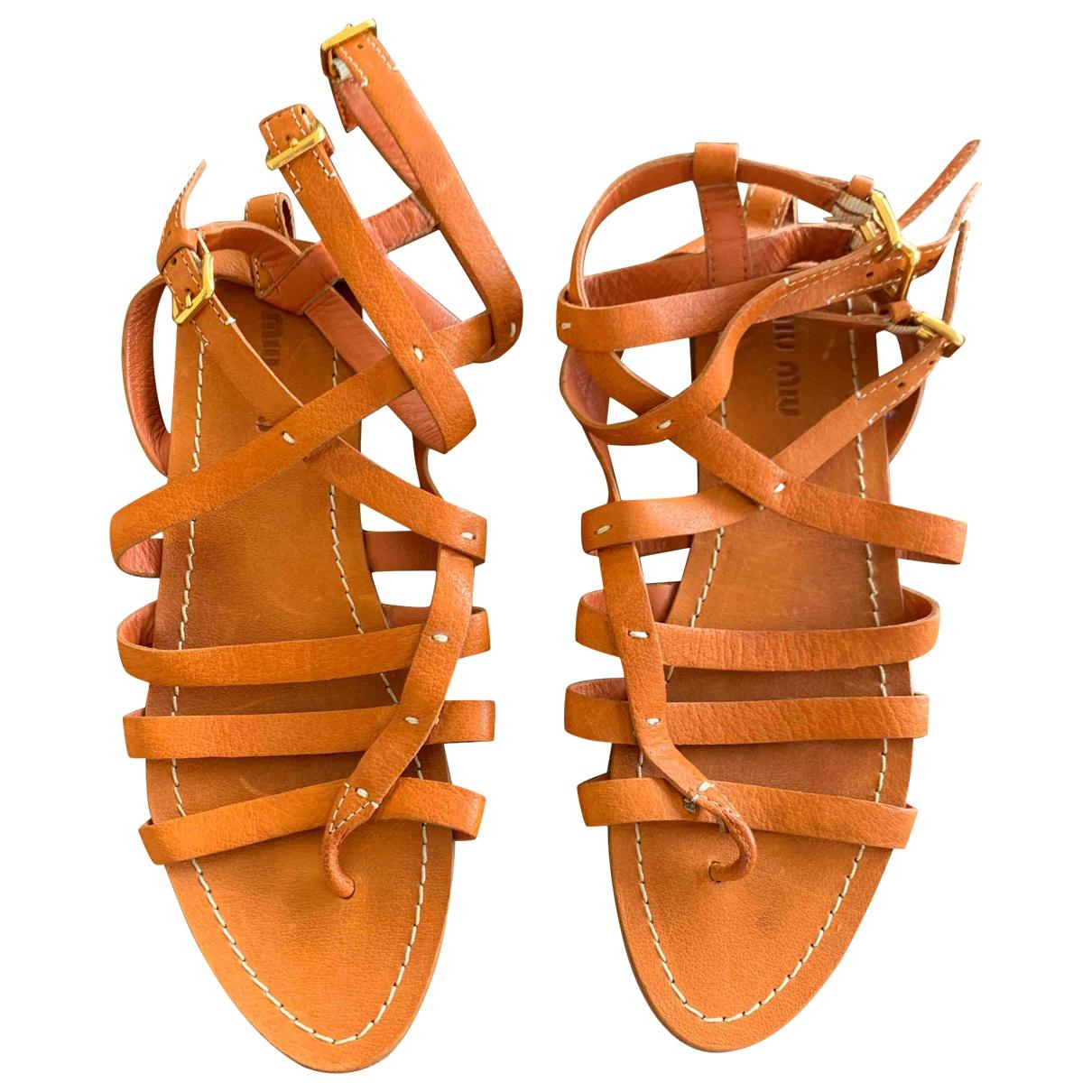 Miu Miu \N Orange Leather Sandals for Women 38 EU