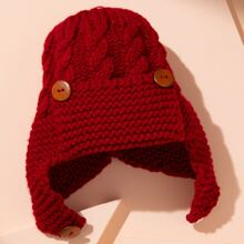 Toddler Kids Button Detail Knit Hat