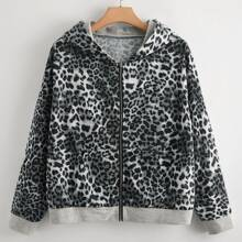Plus Leopard Print Hooded Jacket