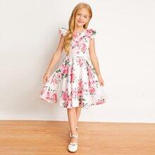 Maedchen Kleid mit Raffungsaum und Blumen Muster