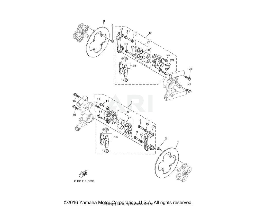 Yamaha OEM 2HC-2580W-00-00 CALIPER ASSY, REAR 2