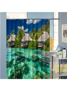 3D Lodges and Beach Scenery Printed Polyester Shower Curtain