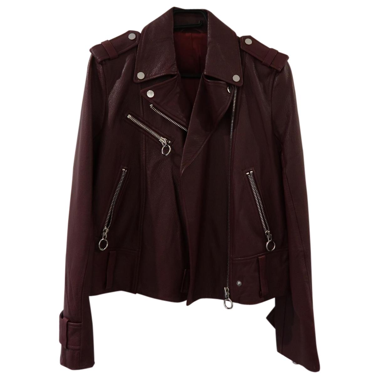 Mo&co \N Burgundy Leather jacket for Women XL International