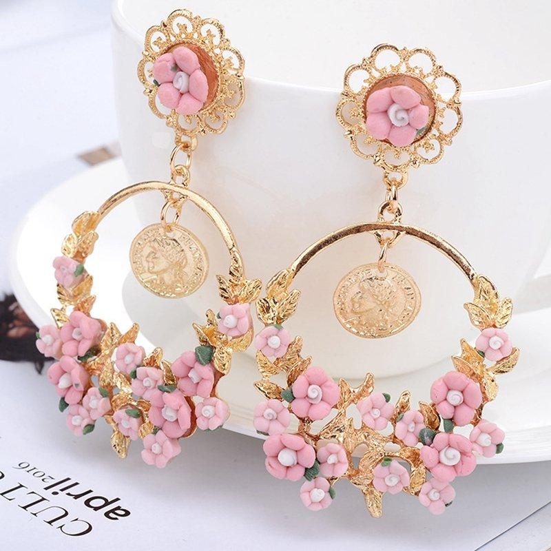Sweet Fresh Drop Earrings Vintage Flower Big Round Earrings Alloy Women Drop Earrings