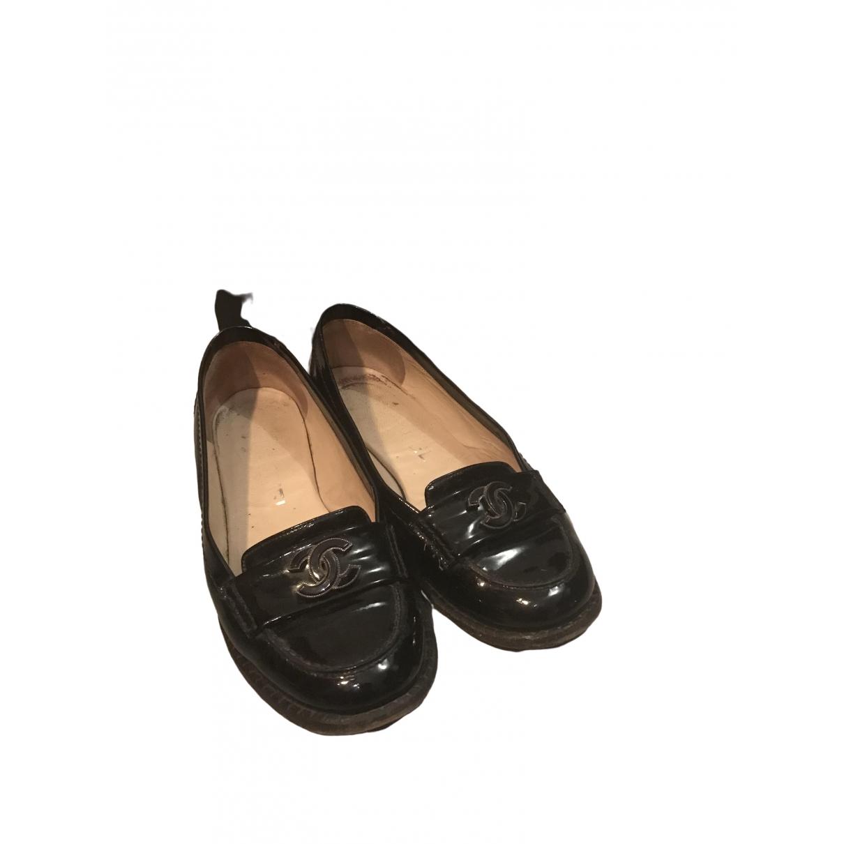 Chanel - Mocassins   pour femme en cuir verni - noir
