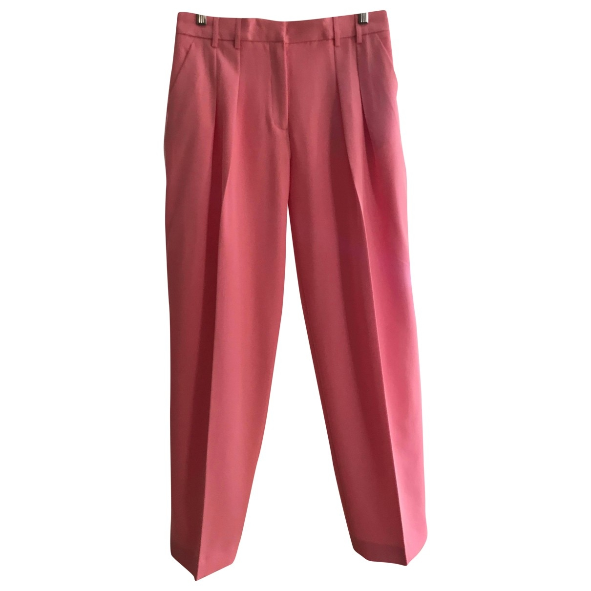 Victoria, Victoria Beckham \N Pink Wool Trousers for Women 12 UK