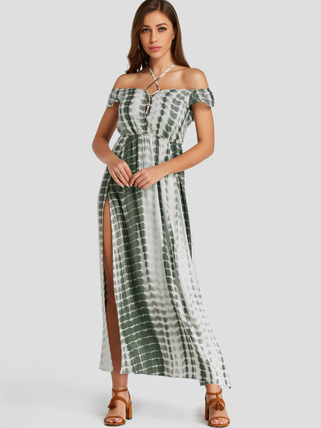 YOINS Green Tie Dye Lace Up Design Slit Hem Maxi Dress