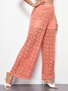 Wide Leg Guipure Lace Sheer Pants