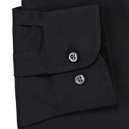 Stafford Mens Wrinkle Free Stain Resistant Stretch Super Shirt Big and Tall Dress Shirt, 18.5 38-39, Black