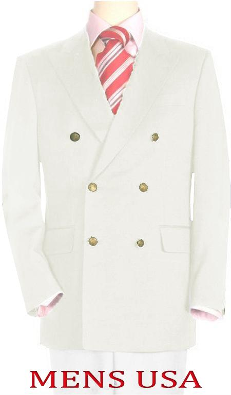 High Quality Off White Double Breasted Blazer with Peak Lapels