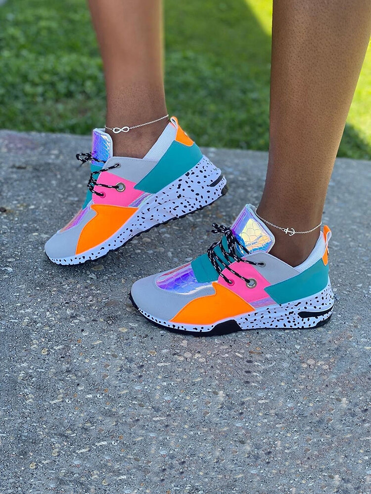 Plus Size Women Casual Multi Color Splicing Thick Soled Chunky Sneakers