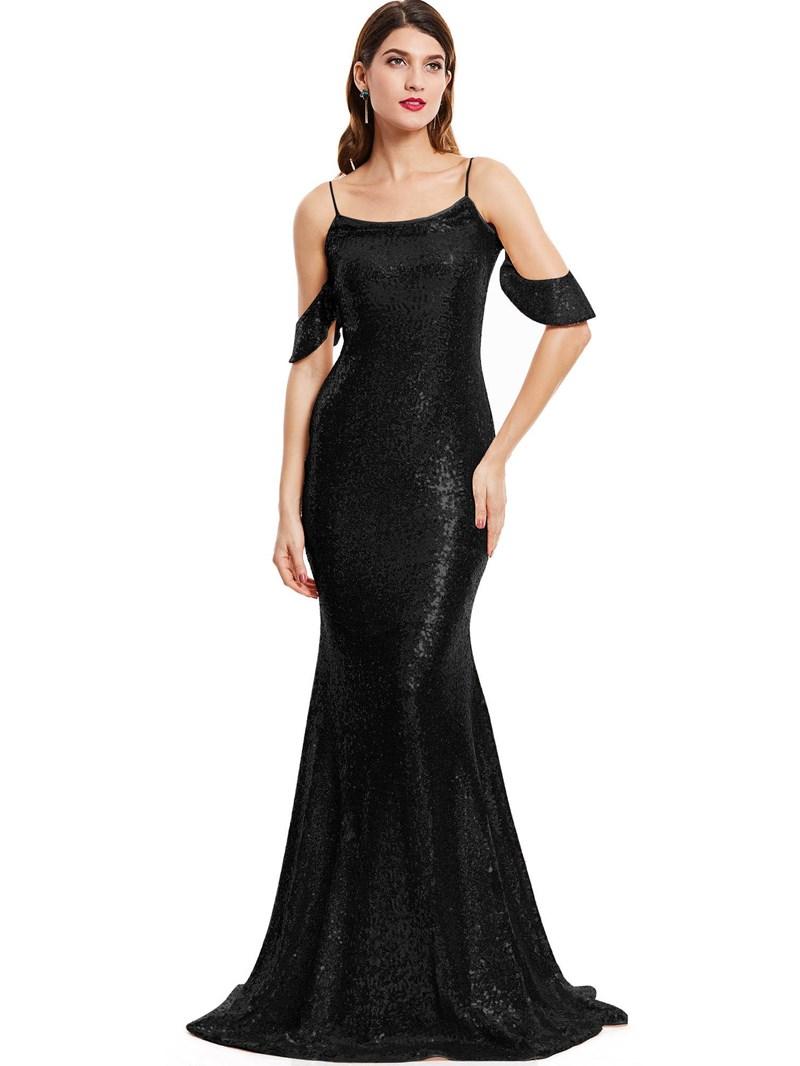 Ericdress Spaghetti Straps Sequins Mermaid Evening Dress