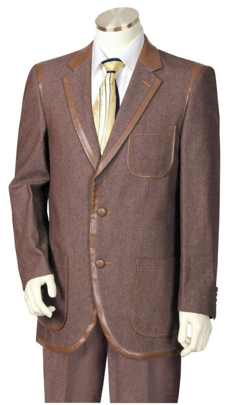 Mens Button Fastener Faux Leather Brown Notch Lapel Zoot Suit