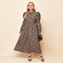 Plus Leopard Leg-of-mutton Sleeve A Line Dress