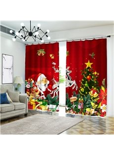 3D Christmas Theme Blackout Decorative Curtains with Santa Claus Elk and Xmas Tree