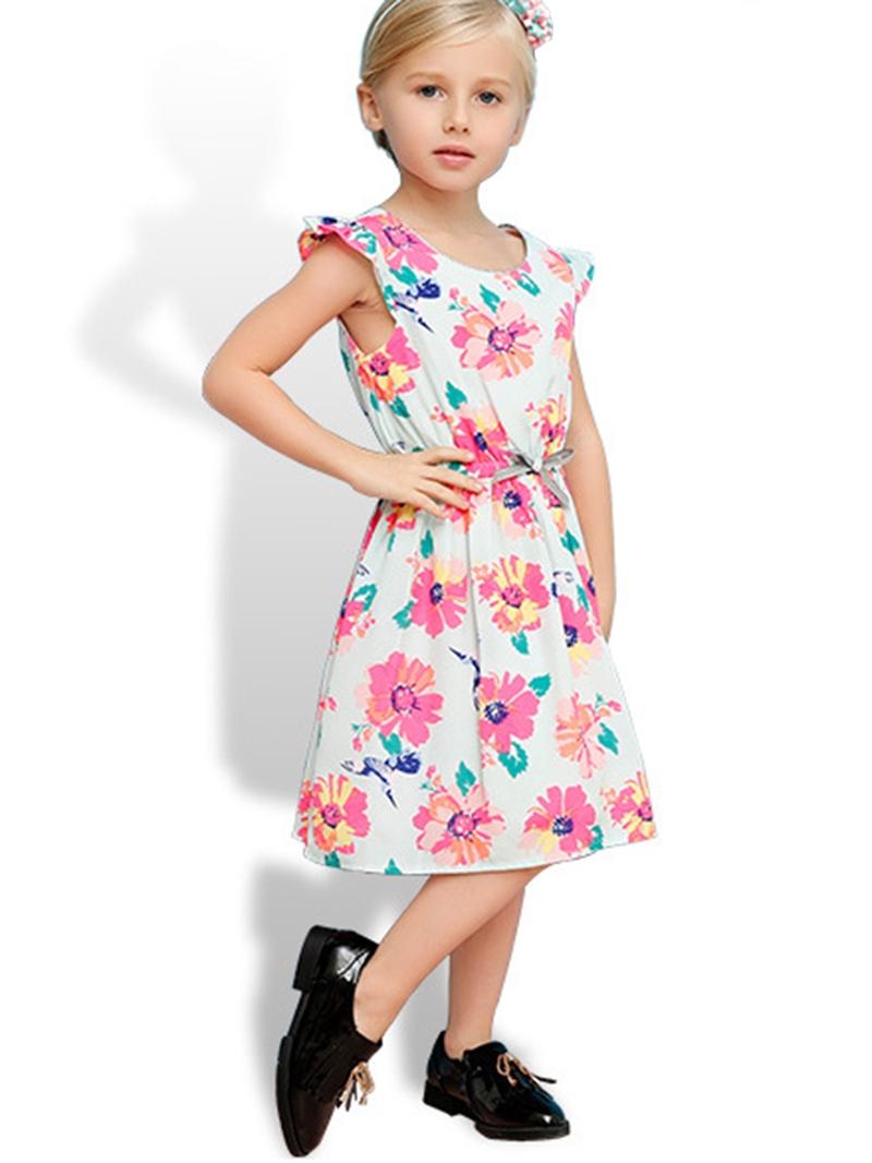 Ericdress Floral Ruffle Sleeve Belt-Tied Girls Dress
