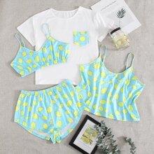 4 piezas conjunto de pijama con estampado de limon
