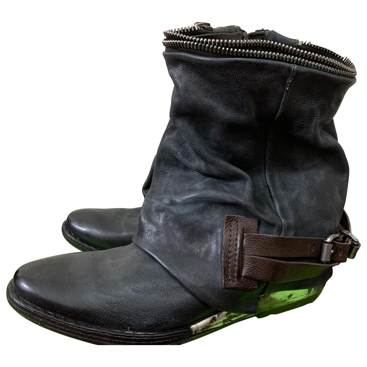 A.s.98 - Boots   pour femme en cuir - noir