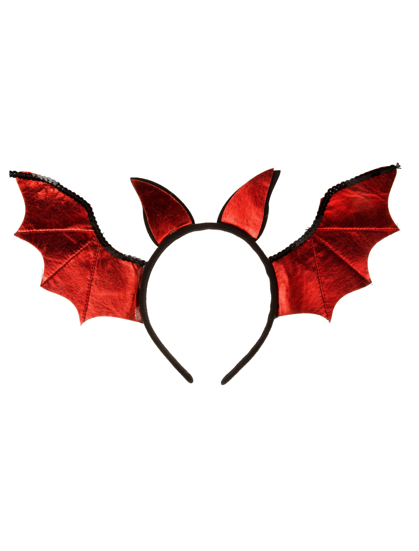 Kostuemzubehor Haarreif Fledermaus rot
