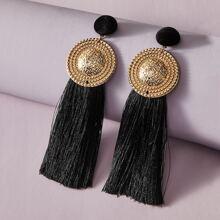 1pair Round Tassel Drop Earrings