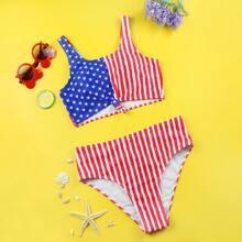 Bañador bikini bajo con nudo con estampado de bandera estadounidense