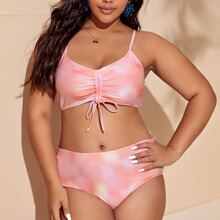 Bikini Badeanzug mit Batik, Ruesche und Kordelzug