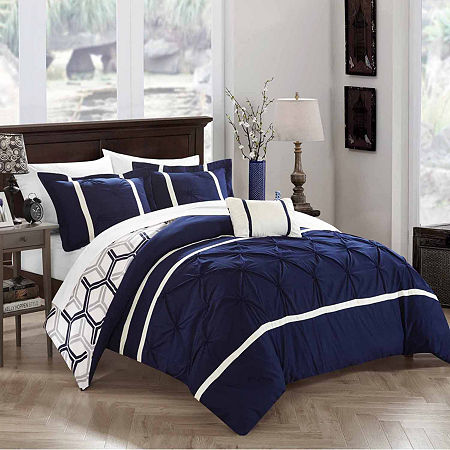 Chic Home Marcia Midweight Reversible Comforter Set, One Size , Blue