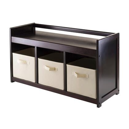 92701 Addison 4pc Storage Bench with 3 Foldable Fabric baskets in