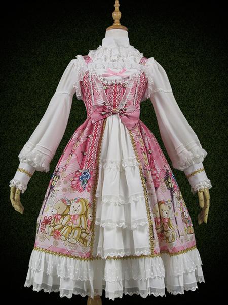 Milanoo Sweet Lolita JSK Dress Plaid Bear Print Lace Ruffle Bow Open Front Green Lolita Jumper Skirt