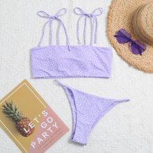 Bikini Badeanzug mit Punkten Muster und Band auf Schulter