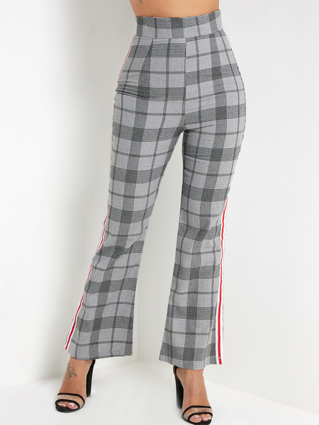 Yoins Grey Wide Leg Grid High-waisted Pants