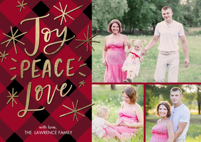 Christmas Photo Cards 5x7 Cards, Premium Cardstock 120lb with Scalloped Corners, Card & Stationery -Christmas Joy Peace Love Stars by Tumbalina