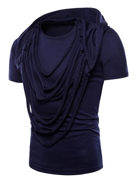 Milanoo Camiseta casual de manga corta con capucha y manga corta con capucha para hombres