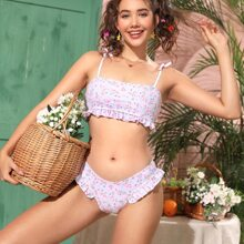Ditsy Floral Self Tie Ruffle Bikini Swimsuit