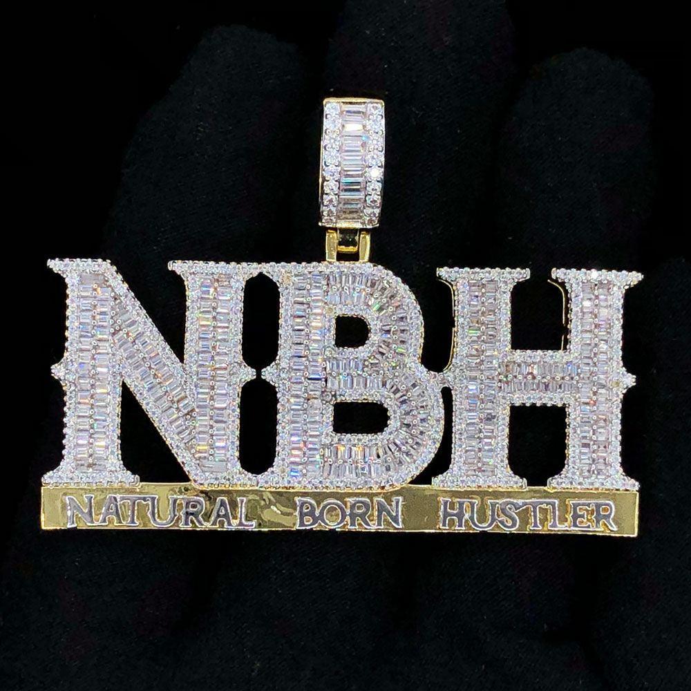 Natural Born Hustler Baguette VVS CZ Hip Hop Iced Out Pendant