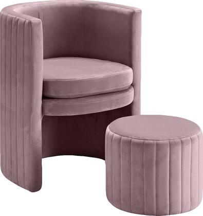 Selena Collection 555Pink 25 Accent Chair with Ottoman Included  Channel Tufted Back and Stylish Barrel Design in