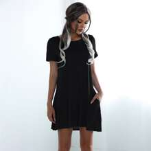 Solid Slant Pocket Tee Dress