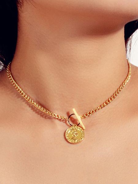 Milanoo Gold Necklaces Coin Pendant Necklace