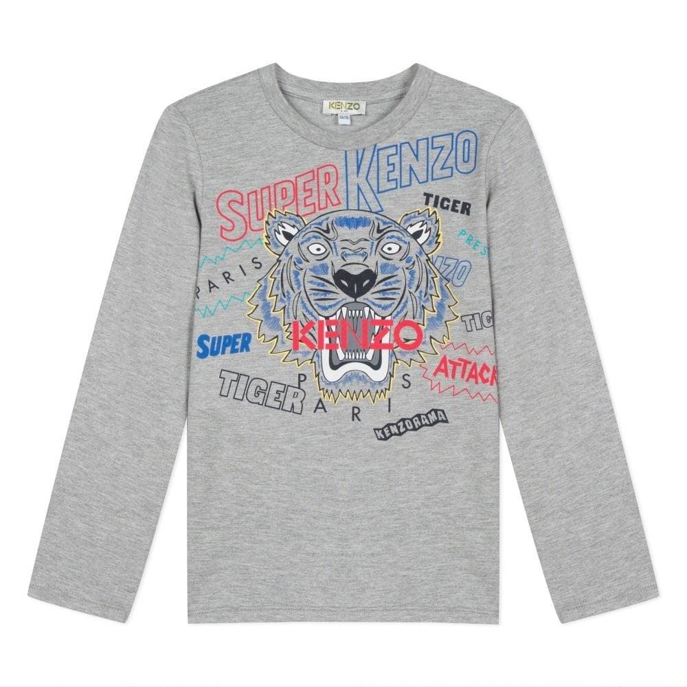 Kenzo Kids Super Graphic Print Long-Sleeve T-Shirt Colour: GREY, Size: