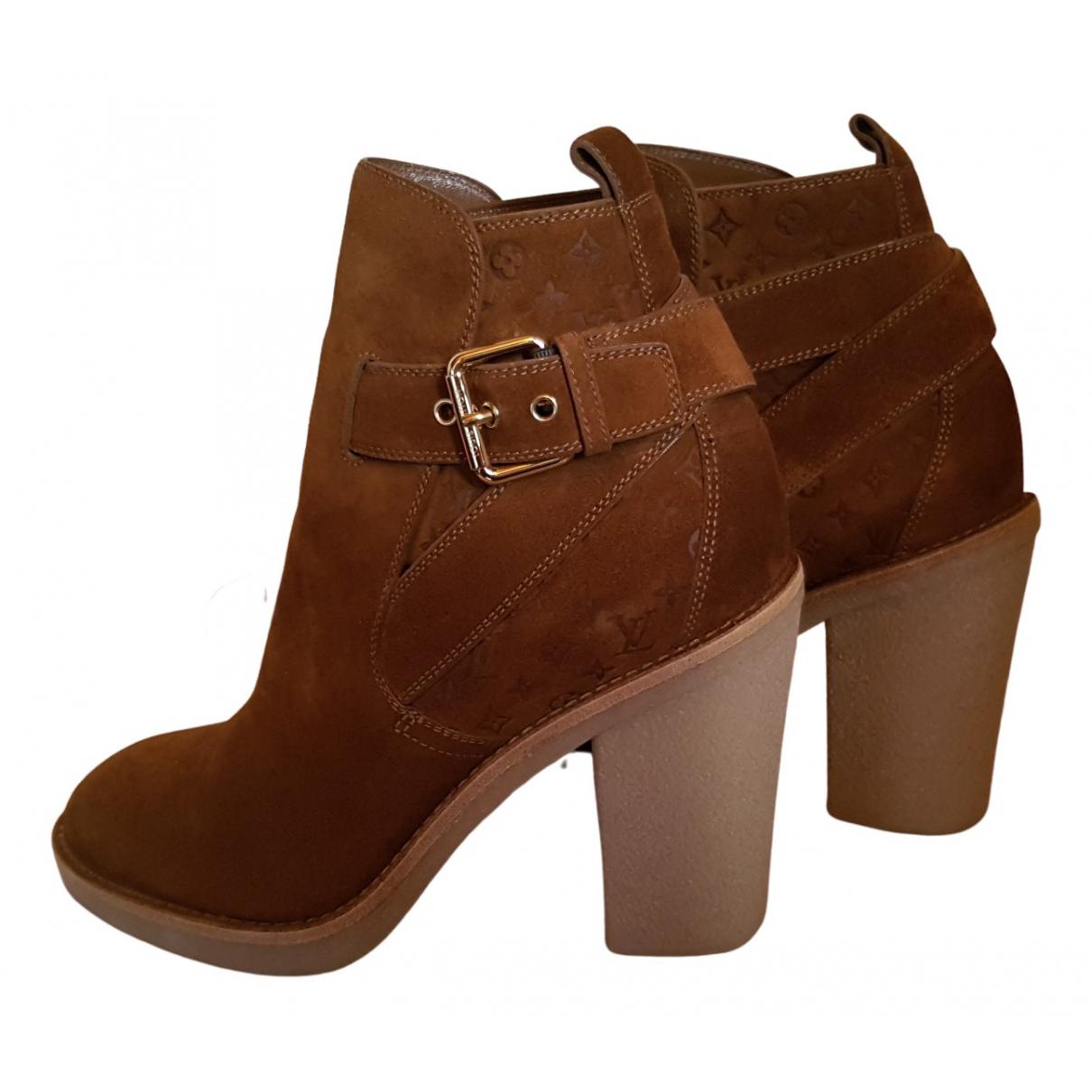Louis Vuitton - Boots   pour femme en suede - marron