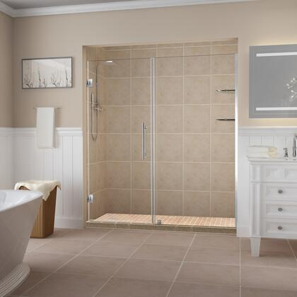 SDR960EZ-SS-6228-10 Belmore Gs 61.25 To 62.25 X 72 Frameless Hinged Shower Door With Glass Shelves In Stainless