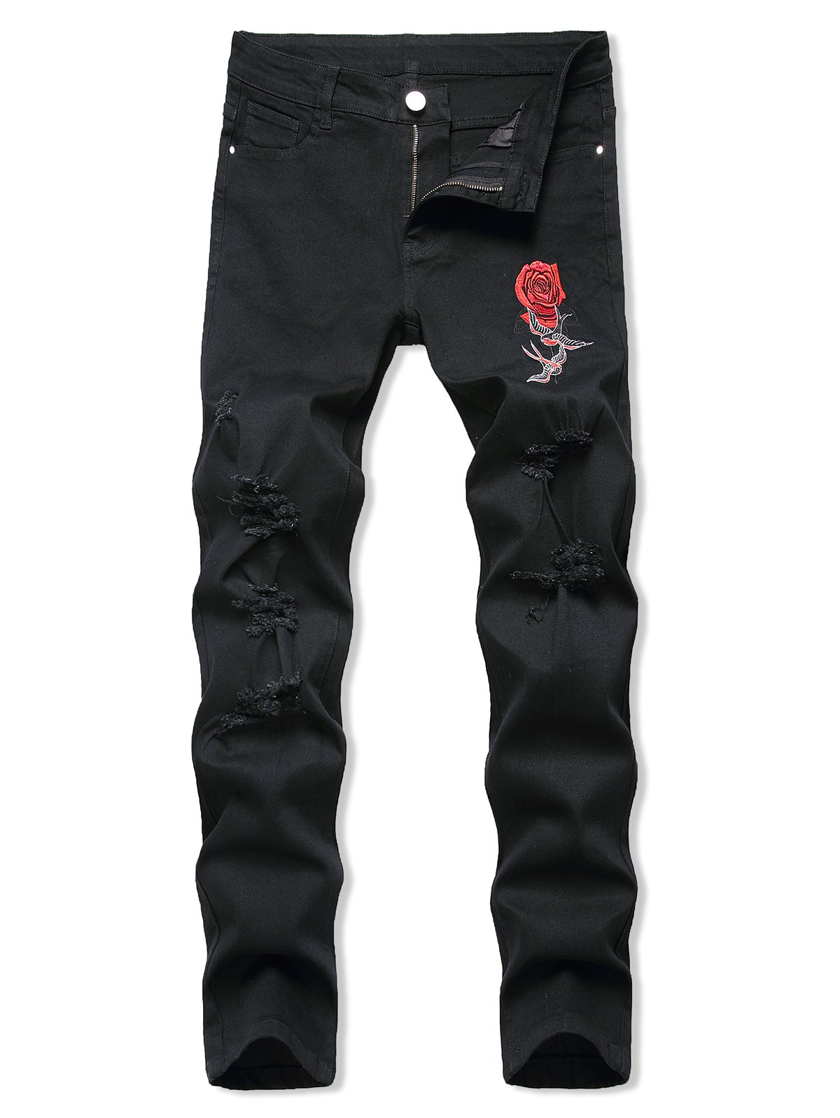 Birds Flower Embroidered Ripped Tapered Jeans