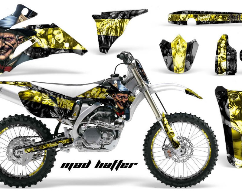 AMR Racing Graphics MX-NP-YAM-YZ250F-YZ450F-06-09-HAT Y K Kit Decal Wrap + # Plates For Yamaha YZ250F YZ450F 2006-2009áHATTER YELLOW BLACK