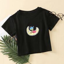 Camiseta de cuello redondo con estampado de dibujos animados
