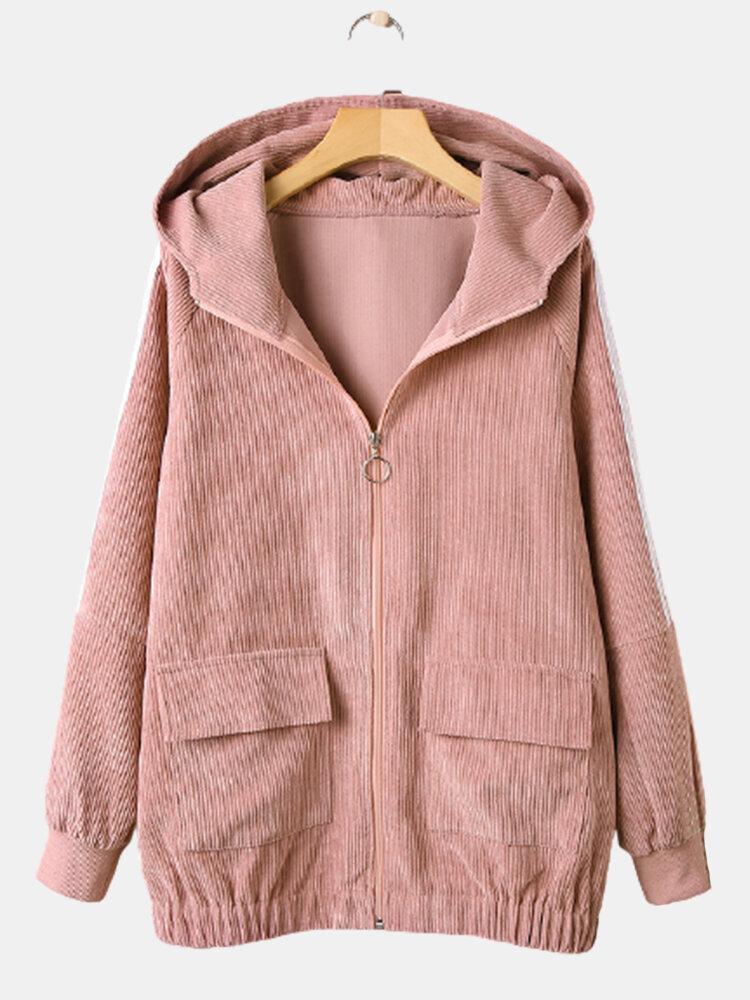 Corduroy Solid Color Zipper Pocket Long Sleeve Hooded Coat