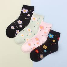 4 Paare Socken mit Blumen Muster