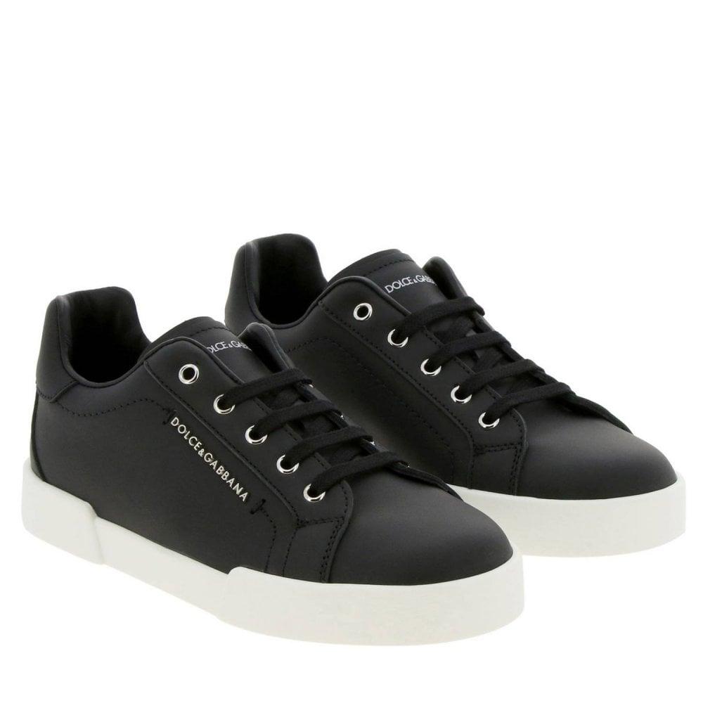 Dolce & Gabbana Black Leather Trainers Colour: BLACK, Size: 32