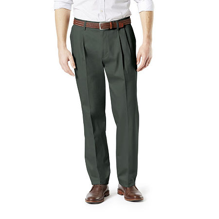 Dockers Men's Classic Fit Signature Khaki Lux Cotton Stretch Pants - Pleated D3, 40 29, Green