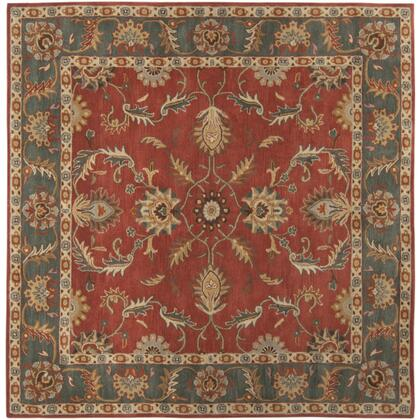 Caesar CAE-1007 6' Square Traditional Rug in Rust  Charcoal  Mustard  Taupe  Dark Brown  Burnt